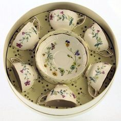 Caroline Wildfloral Gift Boxed Set of 6 Fine Porcleain Demi Tea Cups with Saucers: 39.99