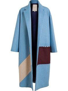 Brown Fashion, Winter Fashion, Color Blocking, Colour Block, Blue Coats, Roksanda, Fashion Project, Blazers, Mode Style