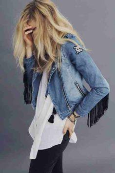 black jeans | white top | jean jacket
