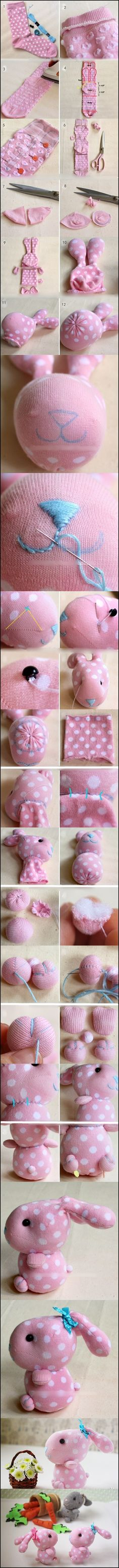 I absolutely can not imagine this cute bunny is done with socks, I amazed of human creativity, with this kind of bunny to sleep, or watching it smiled at me on the windowsill , or as a gift for children . . . I can not wait to do one, How about you?