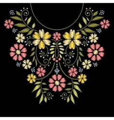 Neck line embroidery. ornament with flower pattern for neckline illustration stock Embroidery Neck Designs, Hand Embroidery Flowers, Embroidery Suits, Embroidery Fashion, Floral Embroidery, Beaded Embroidery, Embroidery Patterns, Cross Stitch Patterns, Saree Painting Designs