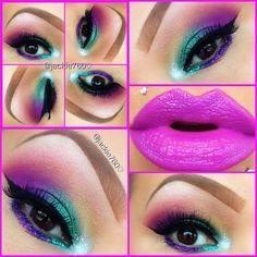 Fun colors but I really love her eyebrows Crazy Makeup, Makeup Geek, Love Makeup, Makeup Tips, Beauty Makeup, Makeup Looks, Hair Beauty, Makeup Ideas, Kiss Makeup