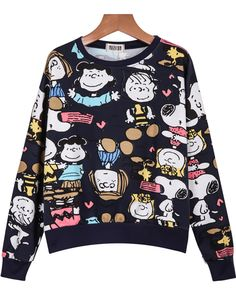 To find out about the Royal Blue Round Neck Cartoon Characters Print Sweatshirt at SHEIN, part of our latest Sweatshirts ready to shop online today! Cute Sweatshirts, Printed Sweatshirts, Hooded Sweatshirts, Hoodies, Sweat Shirt, Fall Outfits, Cute Outfits, Fashion Outfits, Lange T-shirts