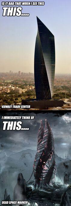 Kuwait Trade Center looks like Dead Space Marker