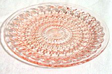 Depression Glass - Jeannette - Holiday - Pink Dinner Plate 9 in. - Lot of 2