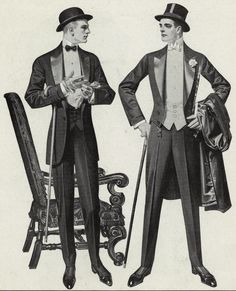 Narrow pants legs and waists were popular for men in the early 1900s. The homburg worn by the man on the man on the left was a common hat style. The top hat tells us these men were going somewhere pretty fancy, as top hats were by now reserved for formal occasions.