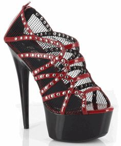 Ellie Shoes brings you this uniquely designed platform sandal that compliments your chic casual outfit. Casey Studded Peep Toe Mesh Platform Pump is a mesh fabric pump with peep toe, multiple studded straps, platform and stiletto heel. Red Pump Shoes, Black Shoes, Red Pumps, Women's Shoes, Red Stilettos, Platform High Heels, Sexy High Heels, Hot Heels, Red Platform