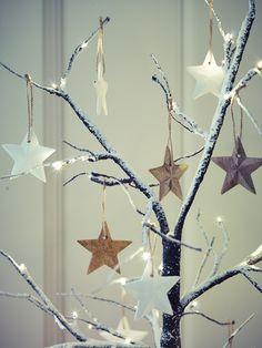 Set of Six Wooden Hanging Stars - Natural Christmas - Christmas