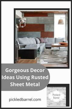 Find inspiration for a modern farmhouse style at pickledbarrel.com! Get the most out of contemporary, rustic charm with tons of ideas and tips! Check out these incredible uses for rusted sheet metal in your farmhouse home now! Diy Home Decor Projects, Fall Home Decor, Home Decor Kitchen, Farmhouse Interior, Modern Farmhouse Decor, Sheet Metal Backsplash, Reclaimed Wood Furniture, Metal Homes, Rustic Interiors