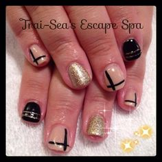 Nude, Black & Gold by TraiSeasEscape from Nail Art Gallery