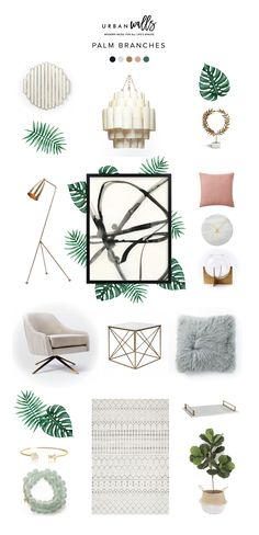Style Board | Palm Branches - Urban Walls Inspiration Boards, Bedroom Inspo, Baby Cribs, Mtv, Branches, Collages, Decor Styles, Wall Decals, Paint Colors