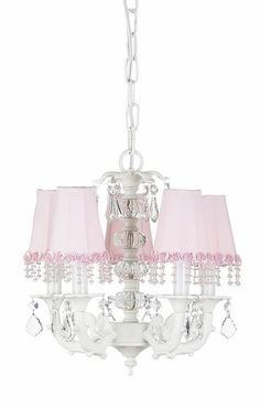 Elegant girl's chandelier with pink pearl shades