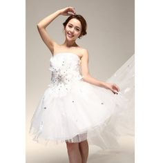 Tulle Ball Gown Strapless Knee Length Gown Style 6733 $137.22 only in... ($137) via Polyvore