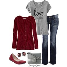 """""""Dark Red and Heather Grey"""" by lovelyingreen on Polyvore"""