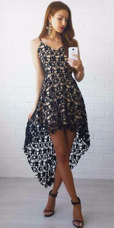 ac7aef01c1 Black Floral Lace Trim Asymmetric Spaghetti Strap Dress
