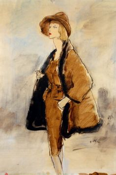 Illustration by Jack Potter (1927–2003 American), 1 9 5 0s, Woman wearing a brown hat and coat.