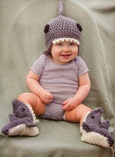 My adorable son, Christian at 11 months! (Oh how time flies.) (click to enlarge) This pattern is for the matching shark beanie ONLY....