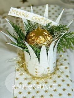 Festive table decoration an upcycling DIY idea from a … – christmas Fashion Noel Christmas, Christmas Goodies, Winter Christmas, Christmas Crafts, Christmas Ornaments, Holiday, Christmas Ideas, Toilet Paper Roll Crafts, Xmas Decorations