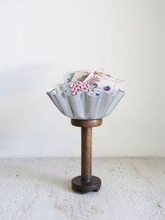 Repurposed Vintage Tart Tin and Textile Spool Organizer
