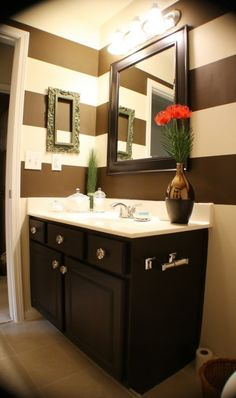 Love the chocolate brown stripes for  downstairs half bath