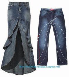 Moda e Dicas de Costura: RECICLAGEM DE CALÇA JEANS - 3