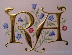 Raised gold illuminated letters with delicate flowers