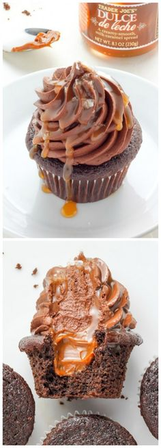 Dulce De Leche Chocolate Cupcakes! This SUPER decadent recipe is sure to become a new favorite.
