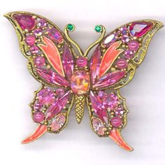 Hollycraft Pink Butterfly Brooch REDUCED / by KattslairVintage, $45.99