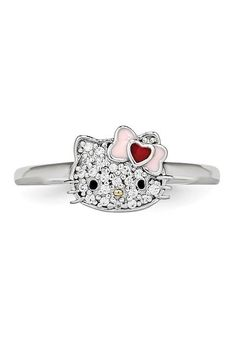 a1252443f Hello Kitty | Hello Kitty Sterling Silver Heart Bow Swarovski Crystal  Embellished Face Love Ring | Nordstrom Rack