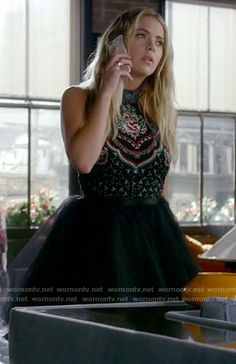 Hanna's black embroidered dress on Pretty Little Liars. Outfit Details: https://wornontv.net/69957/ #PLL