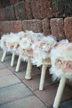 Beautiful paper, crystal and ribbon wedding bouquets...idea for a centerpiece also...