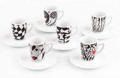 Set di 6 tazzine da Caffè in porcellana. Tazza mod. Cuori Rossi