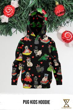 Grab this Pug Kids Hoodie today! Limited time only! Pugs, Kids Outfits, Kids Fashion, Christmas Ornaments, Hoodies, Holiday Decor, Collection, Sweatshirts, Christmas Jewelry