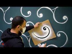 DIY stencil spray wall design - YouTube Stencil Diy, Stencils, Wall Painting Decor, Diy Signs, Paint Designs, Wall Design, Diy Wedding, Wall Decals, Decoration