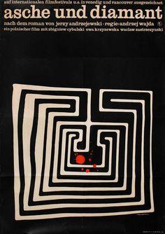 "1965 German poster for ASHES AND DIAMONDS (Andrzej Wajda, Poland, 1958) Designer : Grüttner Poster source: KinoArt.net """
