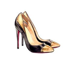 Fashion Illustration -  Christian Louboutin Duvette Metallic and Patent-Leather Pumps Art Print, Watercolor Fashion Illustration Print. $10.00