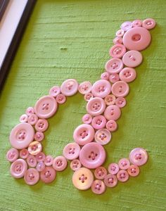 Button Letter Wall Art for Baby's Nursery -- 8x10 -- by Letter Perfect Designs (frame not included). $60.00, via Etsy.