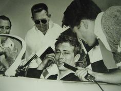 Candid James Dean in his porsche being interview by yonderyears