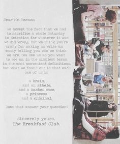 the breakfast club letter dear mr vernon letter from the breakfast club 25142