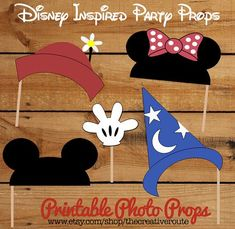 ickey Mouse and Minnie Mouse Photo Props or party decoration centerpiece - Printable DIY Mickey and Minnie Party Ideas #Minnie-birthday-party #Mickey-birthday-party - Picmia