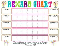 Homework Reward Chart Template  Kiddo Shelter  Printable Reward