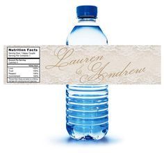 40 Custom Water Bottle Labels - ready to apply for Weddings, Bat Mitzvahs, Sweet Sixteens, Showers, Quince, Welcome bags, Hospitality Bags