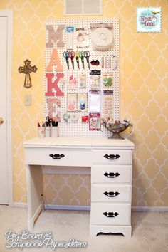 Craft Room Peg Board with Scrapbook Paper Letters