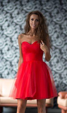 Sukienkowo.pl - Rozkloszowana tiulowa gorsetowa sukienka CZERWONA heart za niedługo w nowej wersji