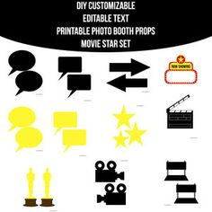Movie Star Party, Movie Stars, Photobooth Props Printable, Blank Sign, Photo Booth Props