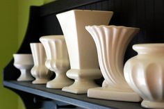 Stylish white vases.