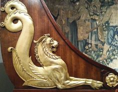 Details on a French sleigh bed @ NEW YORK CITY - -- - 'May you dream of lovely things and to find them real. La Malmaison, Sleigh Beds, Empire Style, Neoclassical, Panel Doors, Home Decor Accessories, Furniture Decor, Dreaming Of You, Lion Sculpture