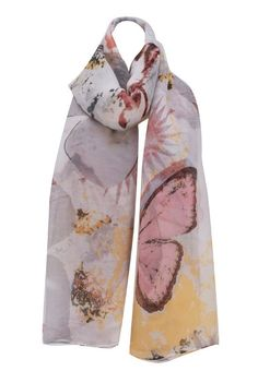 Grey Large Butterfly Print Chiffon Scarf by Bridget's Boutique