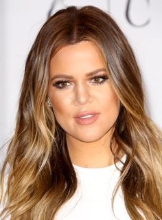 Khloe Kardashian with a Long, Brunette, Wavy, Hairstyle with ...