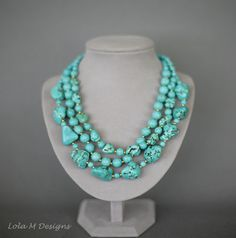 Chunky Turquoise Necklace Bold Turquoise Necklace by Lolambridal, $180.00